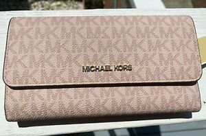 MICHAEL KORS JET SET TRAVEL LARGE TRIFOLD MK SIGNATURE WALLET Pink