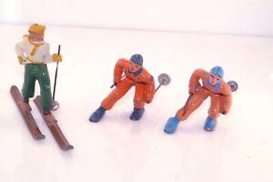 3pc Vtg Barclay Lead Metal Figure Lot Skiers