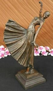 BRONZE SCULPTURE AFTER CHIPARUS CHORUS DANCER SIGNED ART DECOR FIGURINE FIGURE