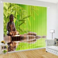The Buddha of Zen in Stone 3D Printing Window Curtains Blockout Drapes Fabric