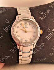 Bulova Ladies Stainless steel Swarovski crystals Watch Silver Tone 98L188-HL