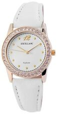 Damenuhr Weiß Gold Analog Metall Leder Strass Armbanduhr Quarz D-60463611021550