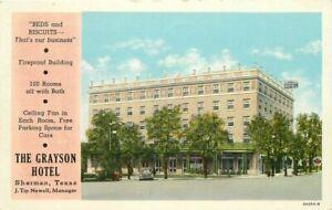 Automobiles Grayson Hotel roadside Postcard Sherman Texas Teich 20-12538
