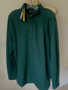 UNDER ARMOUR Men's Green Performance Top 1/4 Long Sleeve Snap Size 2XL NWT $75