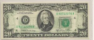 OFFSET INK ERROR (Back-to-Front) 1981-A $20 Dollar Bill Federal Reserve Note AU