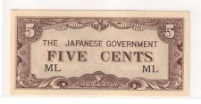 5 Cents Malaya Japanese Invasion Money (JIM), 1942 WWII, block ML (UNC)