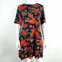 Warehouse UK 12 Dress Black Floral Short Sleeve Short Flare