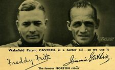Castrol Oil Advertising Card with Freddy Frith and Jimmy Guthrie.