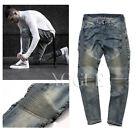 Classic Mens Straight Slim Fit Knee Drape Panel Moto Biker Jeans Denim Pants