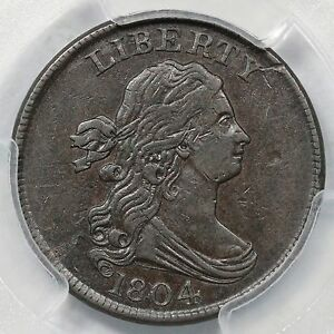 1804 C-9 R-2 PCGS AU 50 Crosslet 4, Stems Draped Bust Half Cent Coin 1/2c