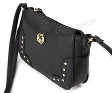 New Womens Tommy Hilfiger Crossbody Bag Messenger Black Faux Leather Purse