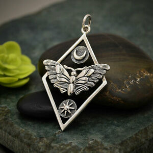 STERLING SILVER GEOMETRIC MOTH PENDANT Moon Stars Insect + FREE GIFT BOX