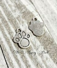 6 Paw Print Charms Antiqued Silver Paw Pendants Dog Charms