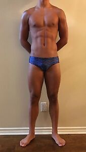 ADIDAS Men's Royal Blue Printed Swim Brief (MADE IN THE USA)