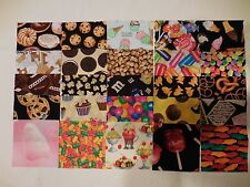 """ALL SNACKS Charm Pack  25  5"""" Quilting Squares  I SPY Novelty Fabric - No Dups!"""