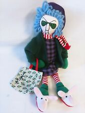 Hallmark Maxine Shelf Sitter Cloth Doll Xmas Candy Cane Stripe Scarf Leggings
