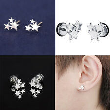 Chic Korean Style Sweet Three Star Silver Stainless Steel Ear Studs Earring Hot