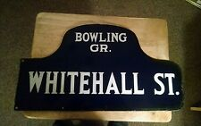 🇺🇸ORIG.1916-40'S NYC HUMPBACK STREET SIGN WHITEHALL St./BOWLING GREEN