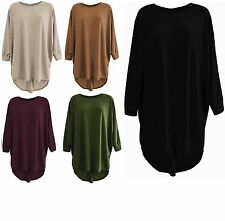 LADIES LONG LOOSE FIT BATWING TOP JUMPER WOMENS MARL KNITTED OVERSIZED HI LO HEM
