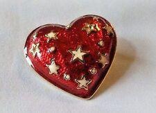Enamel Heart Brooch Pin Thailand Red w/ Stars Patriotic Americana Puffy Bubble