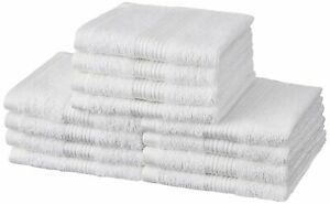 Solimo 100% Cotton White 12 Piece Face Towel Set 500 GSM 30x30cm