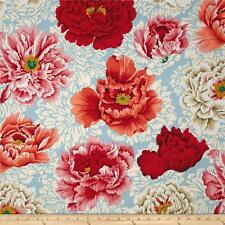 """28"""" REMNANT Free Spirit Philip Jacobs Brocade Peony Natural Floral Cotton Fabric"""