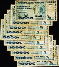 Zimbabwe 100 Billion Dollars Special Agro Cheque x 10PCS Bundle 2008 Circulated
