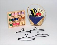 Miniature dollhouse sewing basket, hangers & thread 1:12 scale
