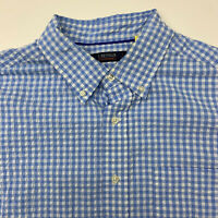 Cremiuex Performance Button Up Shirt Mens Large Blue Check Short Sleeve Casual