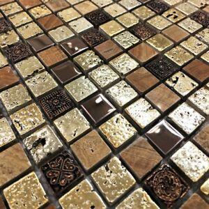 Arctic Vintage Gold Mosaic Tiles Walls Floors Bathrooms Kitchens Splashback
