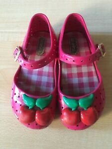 Mini Melissa Cherry Sandals US size 8 Toddler Girl Hot pink