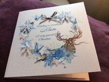 Personalised Handmade Christmas Card,stag Glitter, Grandma, Mummy, Any Name Etc
