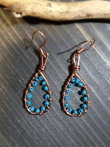UNIQUE SMALL ANTIQUE COPPER WIRE LOOP DESIGN/TURQUOISE SEED BEAD WRAP EARRINGS