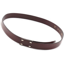 NWT $535 BRIONI Burgundy Leather Belt with Minimalist Design 46 W (Eu 120)