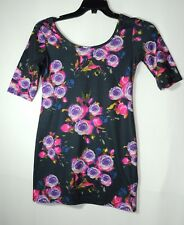 PINK PURPLE FLORAL ROSE NAVY BLUE TOP STRETCH QUIZ SIZE 10 BODYCON