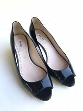 MIU MIU EMBELLISHED JEWELED CRYSTAL HEEL BLACK PATENT LEATHER SHOES 38 8