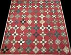 Antique Early 1900's Hand Stitched 5-6 spi Red Patchwork Diamonds Quilt 76x75
