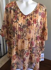 Style & Co Sheer Blouse Womens Small Floral Print Ruffled