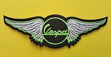 MOD SKA SCOOTER SEW ON / IRON ON PATCH:- VESPA SCOOTER WINGS (a) LIME GREEN