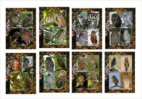 2011 OWLS BIRDS 8 SOUVENIR SHEETS MNH IMPERFORATED owl