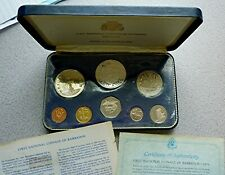 1973 BARBADOS - 1st OFFICIAL PROOF SET (8) w/ 2 SILVER - 2 Oz ASW - PS1 -BEAUTY!