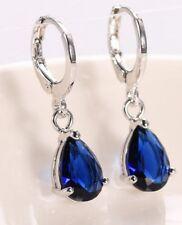 Earrings 9ct White Gold GF Blue Sapphire & Diamond Dangle Drop Gift 29 mm