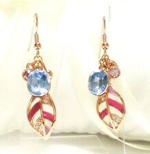 Hook Crystal Rose Gold Plated Drop/Dangle Costume Earrings