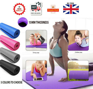 15MM THICK Anti-Slip Yoga Mat for Exercise Fitness 183x61CM NBR With Carry Bag