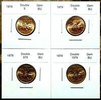 Canada 1979 4 Coin *Double Date* UNC Gem BU Set!!