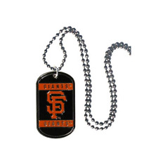 "MLB San Francisco Giants Dog Tag Necklace Engravable 26"" Chrome Chain Jewelry"