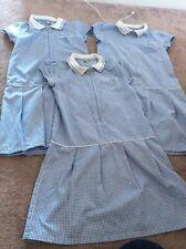 Girls 10 Blue White Dress Pinafore Zip Tu Gingham Check School Uniform