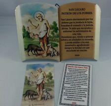 """San Lazaro placa de oracion en loza 4""""x6"""" /Saint Lazarus tile plaque with prayer"""