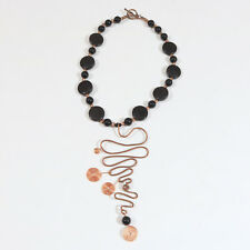 Modern Black beads & Copper Statement Necklace 16""