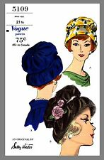Vintage Vogue Designer Sally Victor Hat Fabric material sewing  pattern # 5109